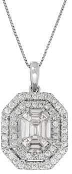 Lord & Taylor Diamond, 14K White Gold Pave Pendant Necklace