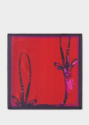 Paul Smith Men's Dark Red 'Safari Animals' Print Silk Pocket Square