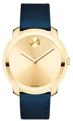 Movado Bold Thin Leather Strap Watch, 36mm