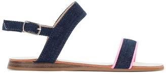 La Redoute Collections Denim Sandals with Fluorescent Detail