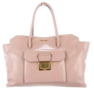 Miu Miu Vitello Leather Tote