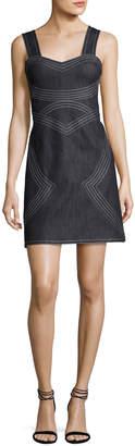 Derek Lam 10 Crosby Sleeveless Geometric Chambray Sheath Dress, Indigo