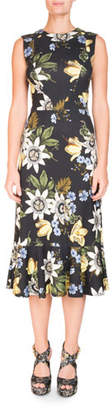 Erdem Grazia Round-Neck Sleeveless Floral-Print Cocktail Dress