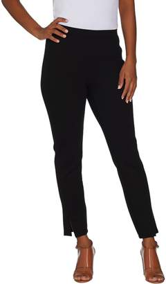 Halston H By H by Petite Ankle Length Ponte Leggings w/ Slit Detail