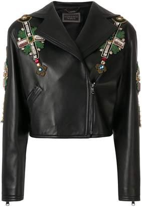 Versace embellished biker jacket
