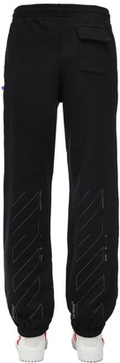Off-White Off White SLIM UNFINISHED COTTON JERSEY SWEATPANTS