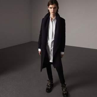 Burberry Detachable Rib Knit Collar Cashmere Coat