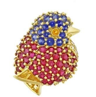 Rubie's Costume Co Jean Vitau 18K Yellow Gold with Rubies, Sapphires and 11 Diamonds Chickadee Brooch
