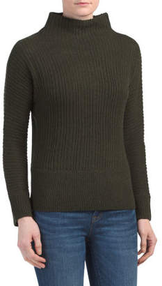Ribbed Mock Neck Wool Blend Sweater