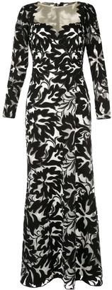 Tadashi Shoji floral lace contrast gown