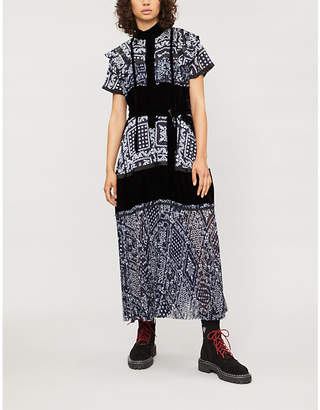 Sacai Ruffled velvet and chiffon midi dress