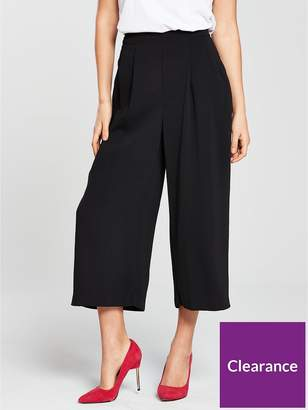 Warehouse Soft Pleat Culottes - Black
