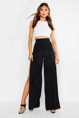 boohoo Woven Side Split Wide Leg Trousers