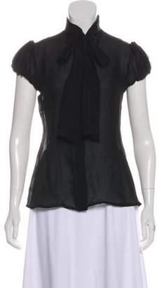 Blumarine Sheer Short Sleeve Button-Up Top Black Sheer Short Sleeve Button-Up Top