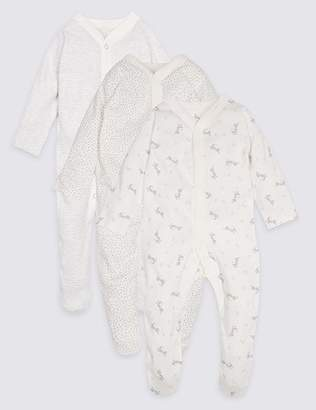 Marks and Spencer 3 Pack Pure Cotton Sleepsuits