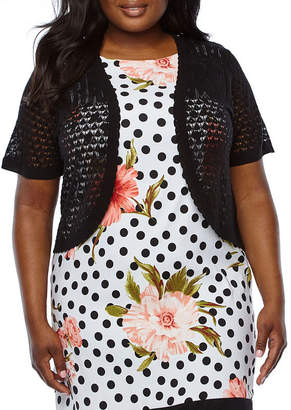 Ronni Nicole Womens Short Sleeve Shrug-Plus