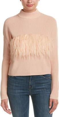 KENDALL + KYLIE Fuzzy Trim Wool Sweater