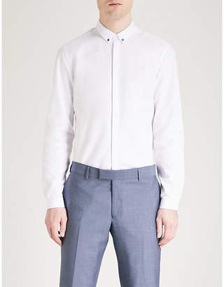 The Kooples Beaded-collar classic-fit cotton shirt