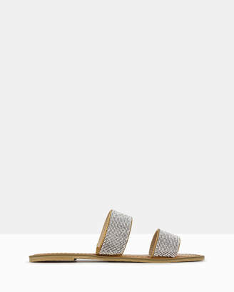 betts Onyx Diamante Slip On Sandals