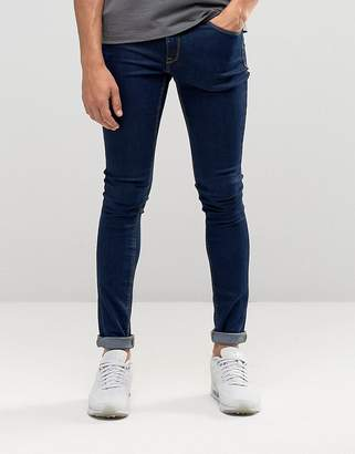 Asos DESIGN extreme super skinny jeans in raw blue