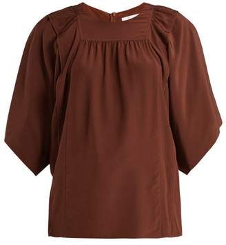 Chloé Square Bib Silk Crepe De Chine Blouse - Womens - Dark Brown