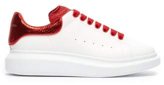 Alexander McQueen Raised Sole Low Top Leather Trainers - Mens - Red White