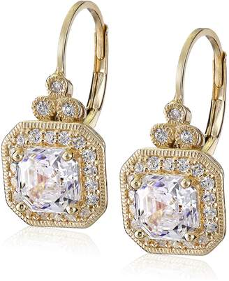 Swarovski Amazon Collection Platinum Plated Sterling Silver Antique Drop Earrings set with Asscher Cut Zirconia