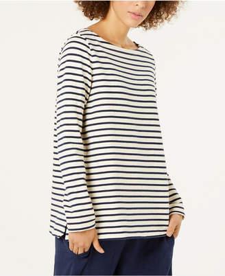 Eileen Fisher Organic Cotton Striped Boat-Neck Top, Regular & Petite