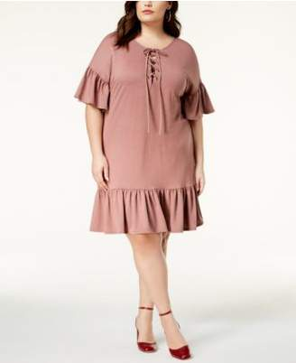 Soprano Trendy Plus Size Lace-Up Shift Dress