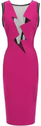 Thierry Mugler Tulle-paneled Cady Dress