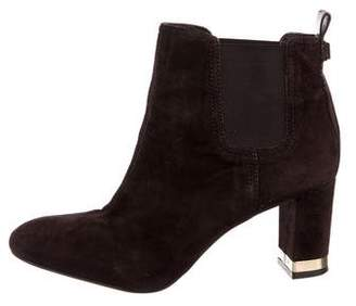 Tory Burch Suede Round-Toe Ankle Boots