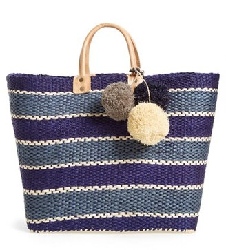 Mar Y Sol 'Capri' Woven Tote With Pom Charms - Blue $139 thestylecure.com