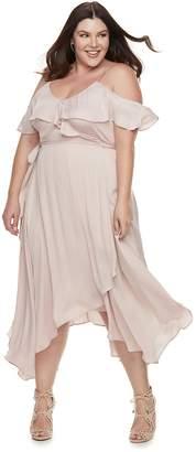 JLO by Jennifer Lopez Plus Size Cold-Shoulder Faux-Wrap Dress