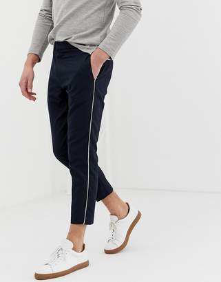 New Look slim fit smart pants with side piping in navy