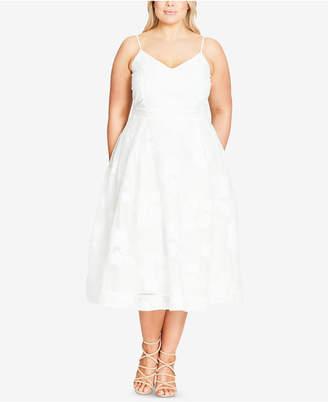 City Chic Trendy Plus Size Floral-Appliqué Fit & Flare Dress $119 thestylecure.com