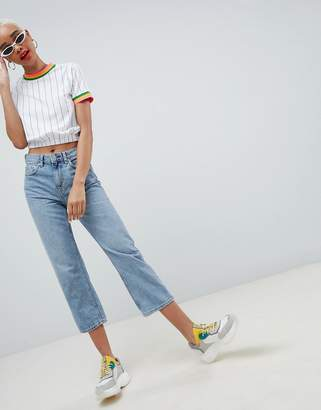 Asos Design DESIGN stripe t-shirt with elasticated hem and bright tipping