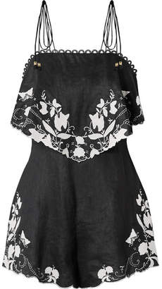 Zimmermann Juniper Appliquéd Linen Playsuit - Black