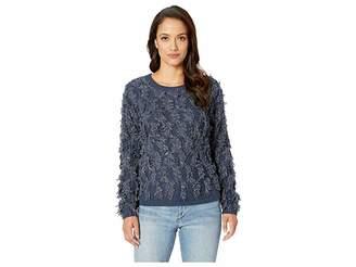 Vince Camuto Long Sleeve Crew Neck Fringe Sweater