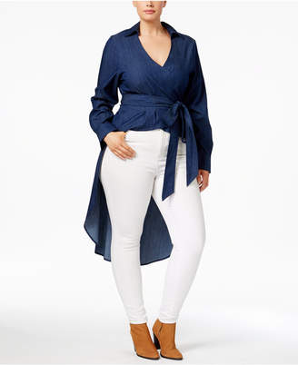 Justice Poetic Trendy Plus Size Cotton High-Low Wrap Top