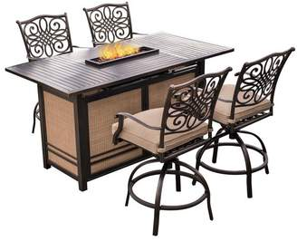 Hanover Traditions 5-Piece High-Dining Set With 30,000 BTU Fire Pit Dining Table