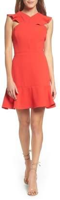 Chelsea28 Cross Front Ruffle Dress