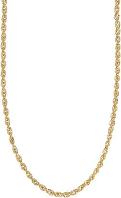 Fine Jewellery 14Kt Yellow Gold 18 Inch 3-3.2Mm Hollow Glitter Rope Chain With Lobster Clasp Closure