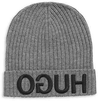 HUGO Ribbed Logo Wool Beanie