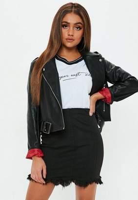 Missguided Black Superstrectch Soft Fray Hem Mini Skirt, Black
