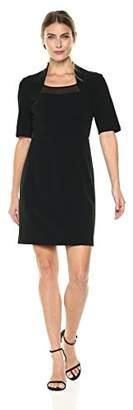 Lark & Ro Women's Elbow Sleeve Sheath Dress with Chiffon