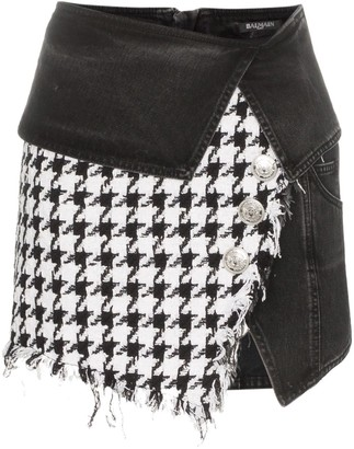 Balmain houndstooth denim wrap mini-skirt