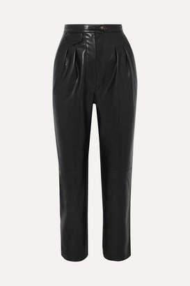 Nanushka Mitsu Cropped Vegan Leather Straight-leg Pants - Black