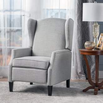 Noble House Allan Wingback Traditional Fabric Recliner, Taupe Tweed