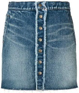 Saint Laurent frayed detail denim mini skirt