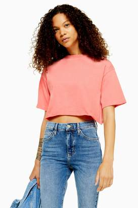 Topshop Womens Petite Washed Cropped T-Shirt - Pink